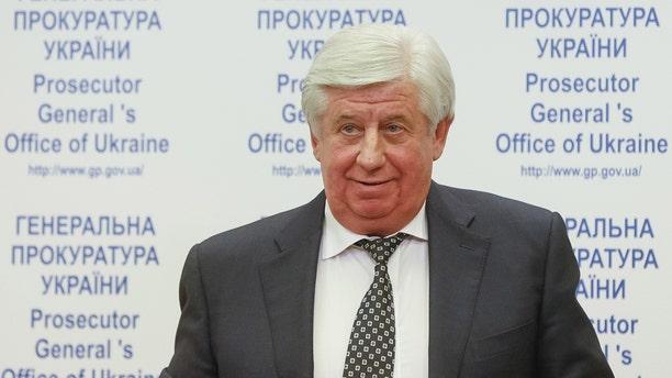 Then-Prosecutor-General of Ukraine Viktor Shokin speaking at a news conference in Kiev, Ukraine, November 2, 2015.