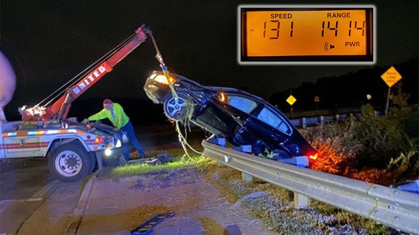 The 33-year-old unidentified suspect evaded police and was clocked going 131 mph before he crashed his vehicle into a concrete median and flipped over a guardrail, according to a Facebook post by the Alpharetta Department of Public Safety.