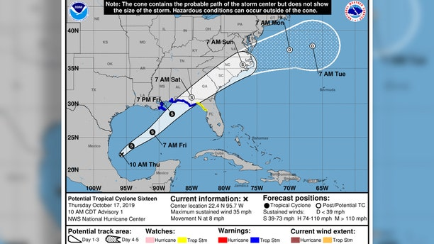 The forecast track of Tropical Cyclone 16, which could become Tropical Storm Nestor.,