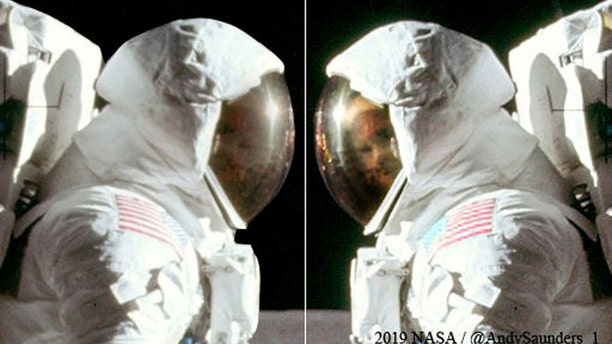 Once the outline of Aldrin's facial features became slightly clearer, Saunders spent hours tweaking the saturation and contrast of tiny areas at a time, to reveal his full expression. It reveals for the first time a clear shot of the astronaut giving a cheeky grin as he turns his head to face the camera - previously obscured by his reflective visor. (Credit: SWNS)