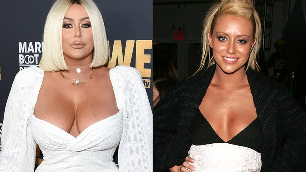 Aubrey O'Day, on the right in 2019, and on the left, in 2007. She says she has never had plastic surgery.