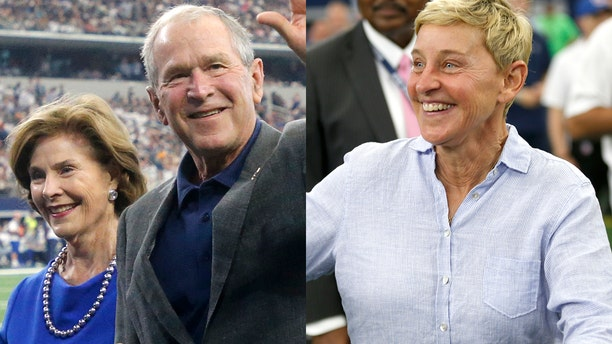 """Daytime talk show host Ellen DeGeneres took a stand against the Twitter mob after receiving backlash for appearing at a football game next to former President George W. Bush, whom she calls a """"friend."""""""