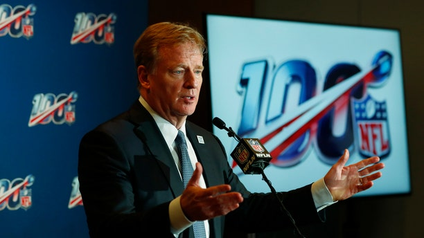 NFL Commissioner Roger Goodell speaks at a news conference after the NFL Fall league meeting, Wednesday, Oct. 16, 2019, in Fort Lauderdale, Fla.
