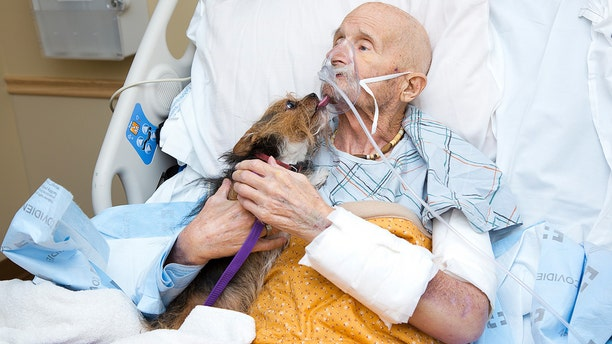 Marine veteranJohn Vincent was reunited with his dog, Patch.