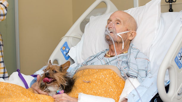 He told the hospice center his only request was to see his dog one last time.