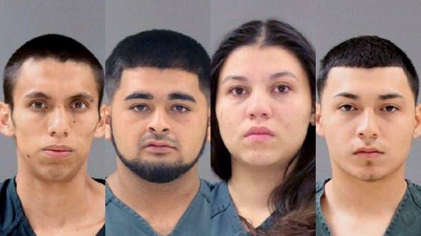 (Left to right) Ronald Mendez-Sosa, Francisco Ramirez-Pena, Brenda Argueta and Ervin Arrue-Figueroa, whom investigators have identified as MS-13 members.