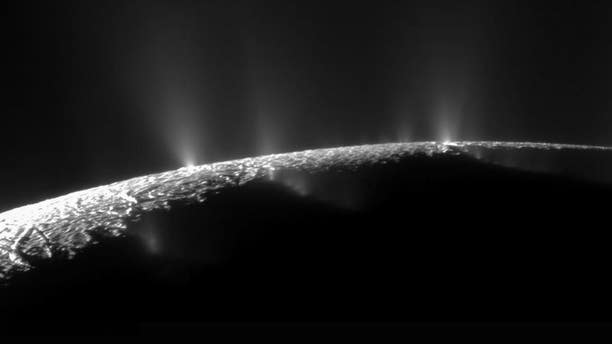 Plumes are seen on Enceladus, one of Saturn's moons.