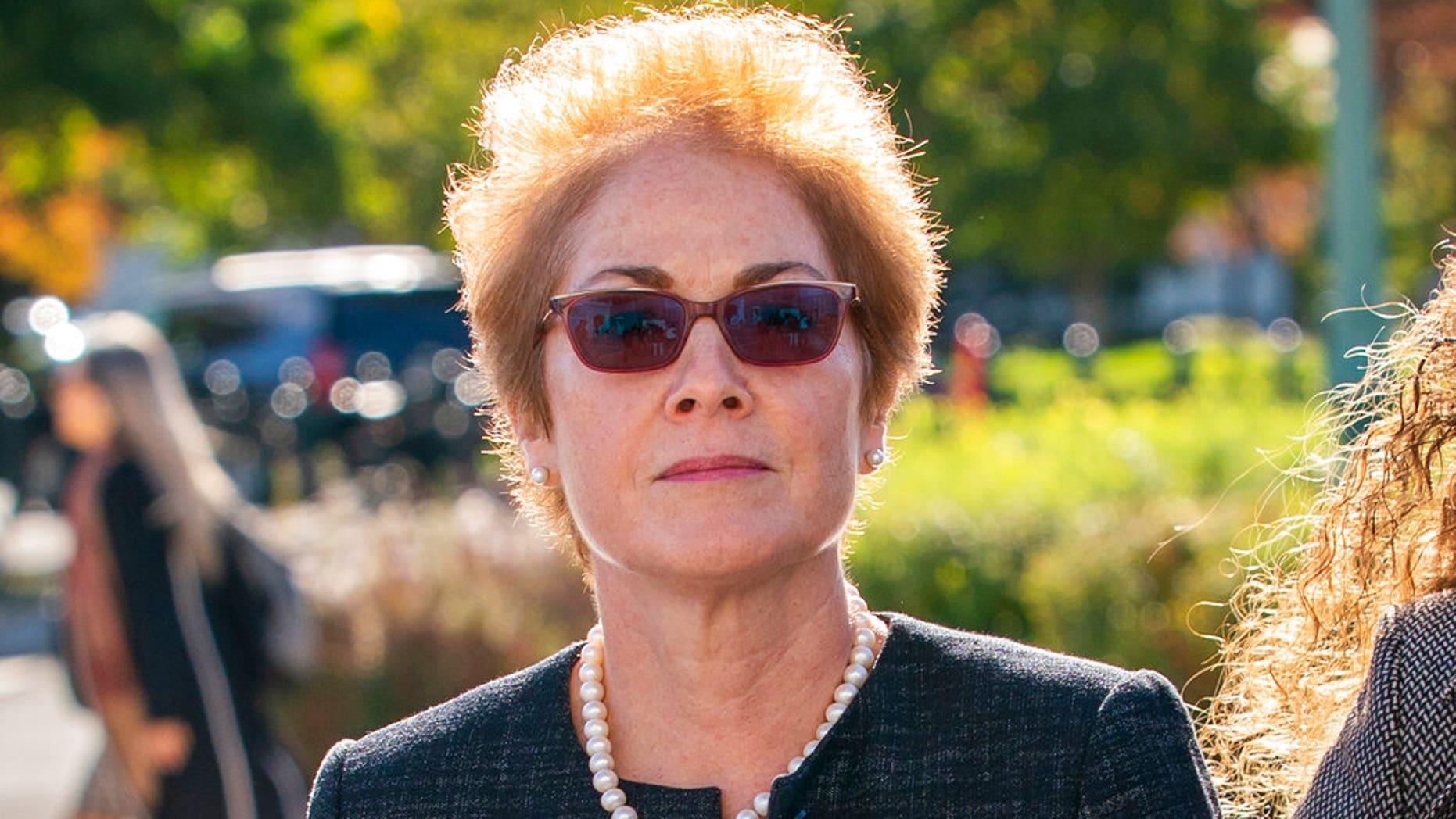 FILE - In this Oct. 11, 2019, file photo, former U.S. ambassador to Ukraine Marie Yovanovitch, arrives on Capitol Hill in Washington. (AP Photo/J. Scott Applewhite, File)