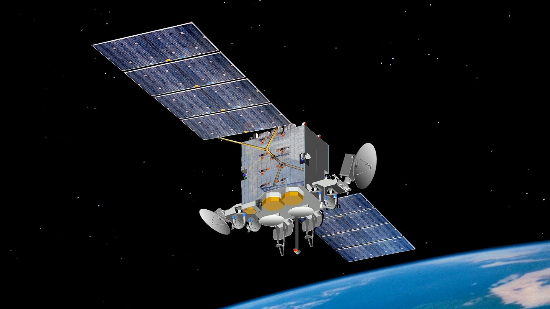 Artist's impression of the Advanced Extremely High Frequency satellite. (DoD image by the Space and Missile Systems Center courtesy of the 50th Space Wing)
