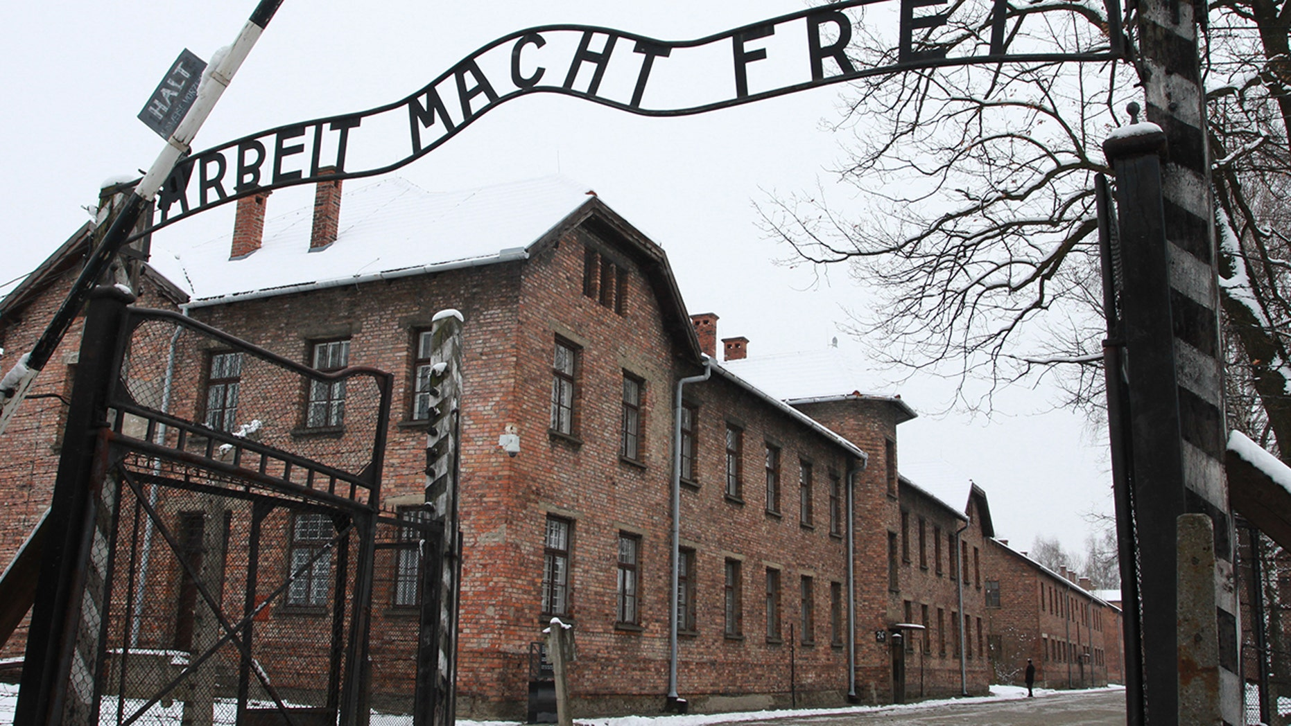 'Arbeit Macht Frei' sign at the former Nazi concentration camp Auschwitz in Oswiecim, Poland. (Photo by Jakub Porzycki/NurPhoto via Getty Images)