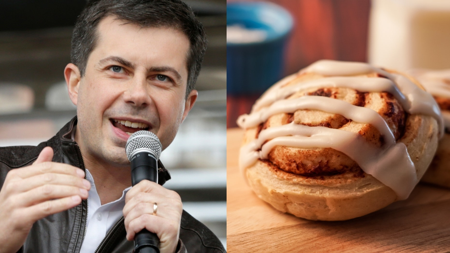 A photograph of Democratic presidential candidate Pete Buttigieg eating a cinnamon roll has become the latest social media craze. (Photo: AP Photo/Nati Harnik/iStock)