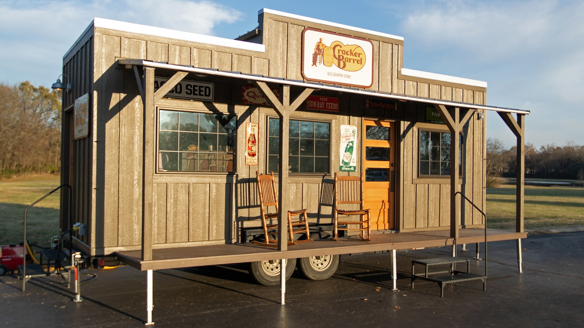 The tiny house will replicate the experience of visiting the iconic country home store, complete with front porch and wooden rocking chairs.