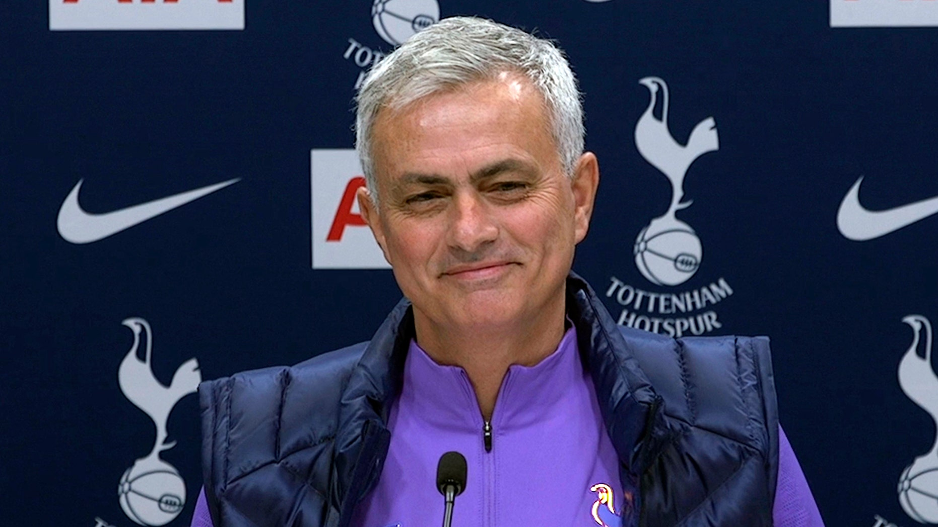 Image taken from PA Video showing newly appointed Tottenham Hotspur manager Jose Mourinho during a press conference at Tottenham Hotspur Training Centre, in London, Thursday Nov. 21, 2019. Mourinho is back in the English Premier League management by joining Tottenham. (PA Video/PA via AP)