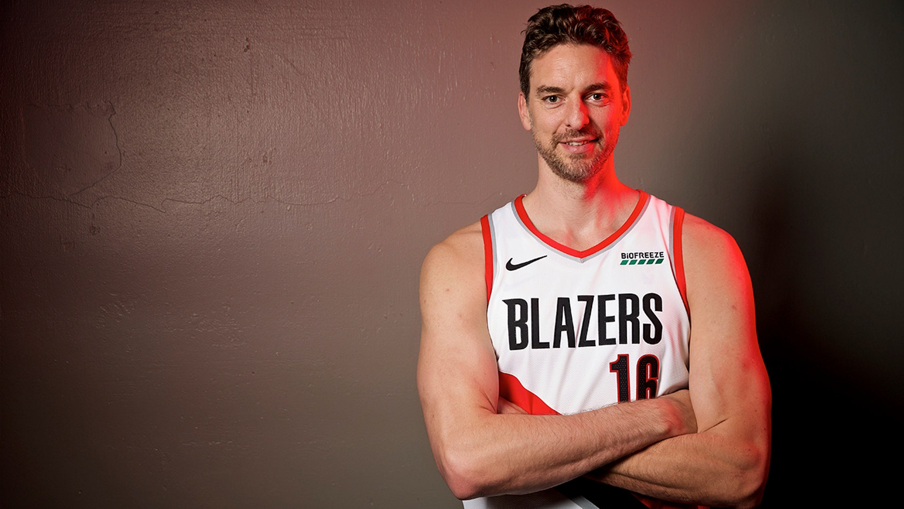 FILE - In this Sept. 30, 2019, file photo, Portland Trail Blazers' Pau Gasol poses during the NBA basketball team's media day in Portland, Ore. The Blazers have waived Gasol, but his career with the team may not be over. Gasol, who never played in a game with the Blazers, announced on social media Tuesday, Nov. 20, that the team had released him. Gasol said he plans to remain in Portland to continue his rehabilitation after surgery for a stress fracture, and he is discussing a new role with the Trail Blazers. (AP Photo/Sam Ortega, File)