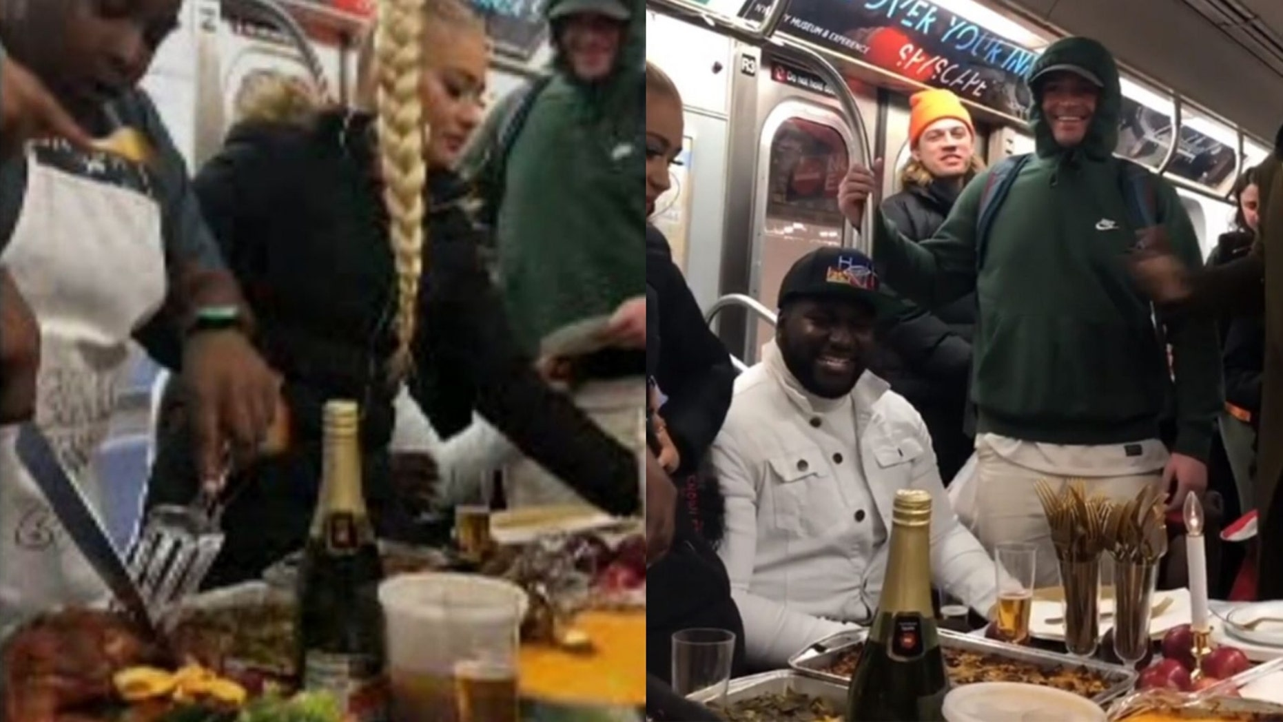 The chefs behind the now-viral video of a group of New Yorkers serving a full Thanksgiving meal on the subway opened up about its inspiration. (@flanneryfoster via Storyful)