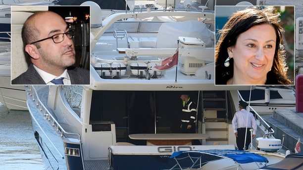 """Fenech (inset left) was arrested aboard his yacht as it was sailing away from Malta. He was named a """"person of interest"""" in the assassination of investigative journalistDaphne Caruana Galizia (inset right).(AP Photo/Jonathan Borg)"""