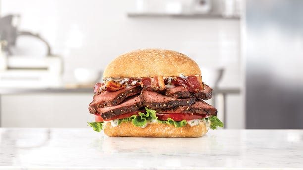 Both sandwiches will feature thick-cut petite filet steak seasoned with black pepper and slow-cooked to medium, on a ciabatta roll.