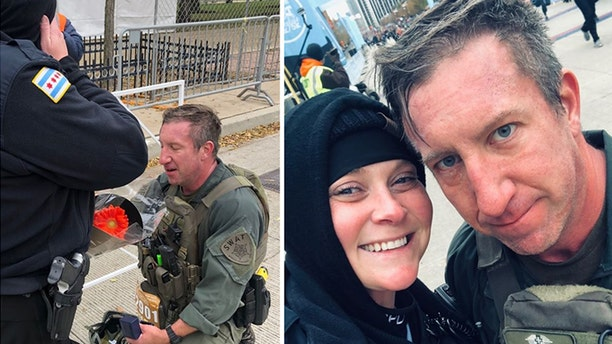 Chicago Police Officer Erin Gubala with SWAT Sgt. Mike Nowacki got engaged Sunday after Nowacki ran the Hot Chocolate 15k in full gear and reviving another runner.