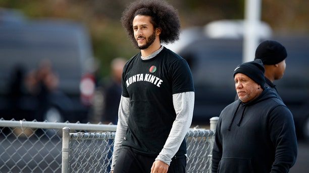 Free-agent quarterback Colin Kaepernick arrives at a workout for NFL football scouts and media, Saturday, Nov. 16, 2019, in Riverdale, Ga. (AP Photo/Todd Kirkland)