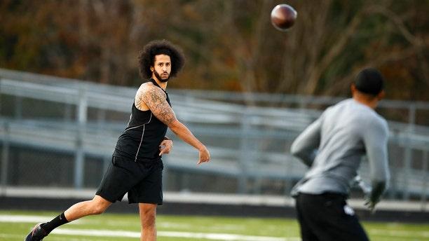 Free-agent quarterback Colin Kaepernick left his workout still unsigned. (AP Photo/Todd Kirkland)