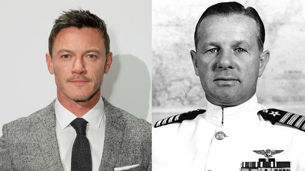 Luke Evans and Lieutenant Commander Clarence Wade McClusky Jr. ​​​​​