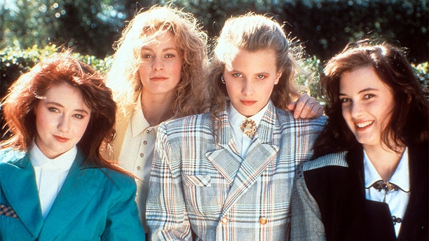 """From left to right: Shannen Doherty, Lisanne Falk, Kim Walker and Winona Ryder on the set of the film """"Heathers."""""""