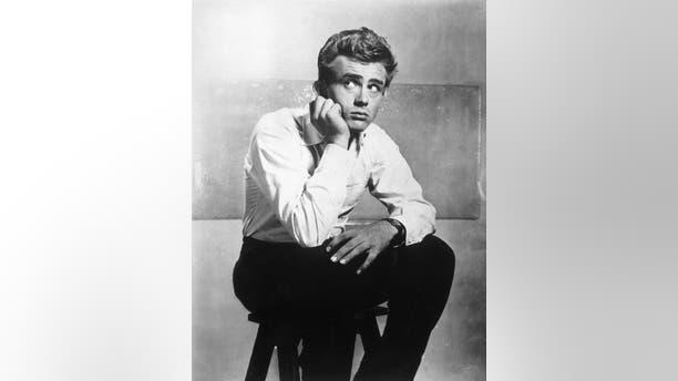 1955: Portrait of American actor James Dean (1931-1955) on the set of director Elia Kazan's film, 'East of Eden.'
