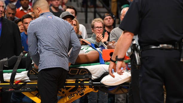 Kemba Walker #8 of the Boston Celtics is injured against the Denver Nuggets in the first half at Pepsi Center on November 22, 2019 in Denver, Colorado.(Photo by Jamie Schwaberow/Getty Images)