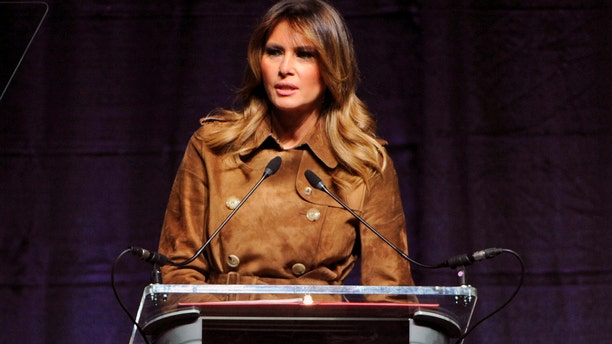 First lady Melania Trump speaks at the B'More Youth Summit Tuesday at the University of Maryland, Baltimore County. (Barbara Haddock Taylor/The Baltimore Sun via AP)