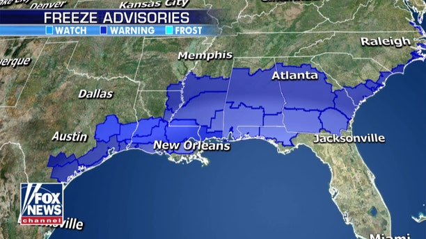 Freeze Advisories extend down to the Gulf Coast due to the Arctic air<br> mass.
