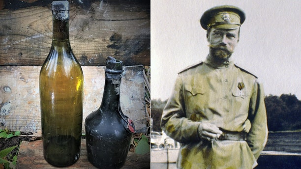 Two of the bottles recovered from the wreck/Czar Nicholas II - colored file photo.
