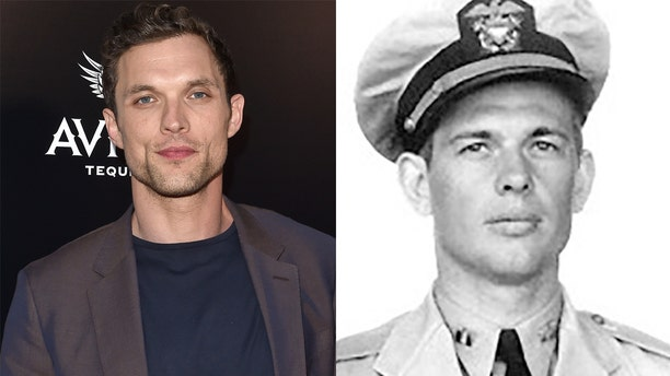 "Ed Skrein and Lieutenant Richard ""Dick"" Best"