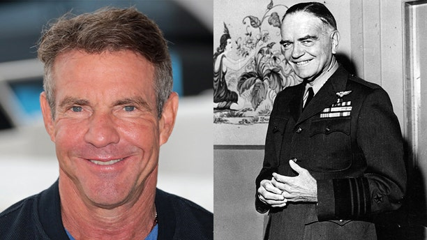 "Dennis Quaid and Vice Admiral William ""Bull"" Halsey"