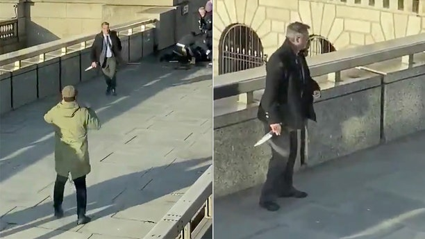 In these grabs taken from video made available by @HLOBlog, a bystander runs with a knife, after an incident on London Bridge.