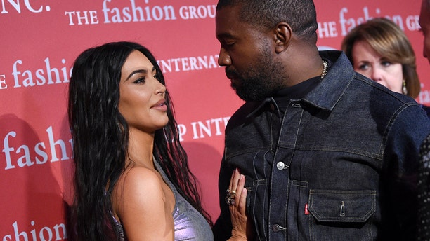 "Kanye West and wife Kim Kardashian West attend The Fashion Group International's annual ""Night of Stars"" gala at Cipriani Wall Street on Thursday, Oct. 24, 2019, in New York."
