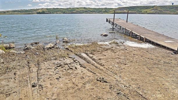 The pickup truck was recovered from Lake Sakakawea in North Dakota. (Tom Stromme/The Bismarck Tribune via AP, File)