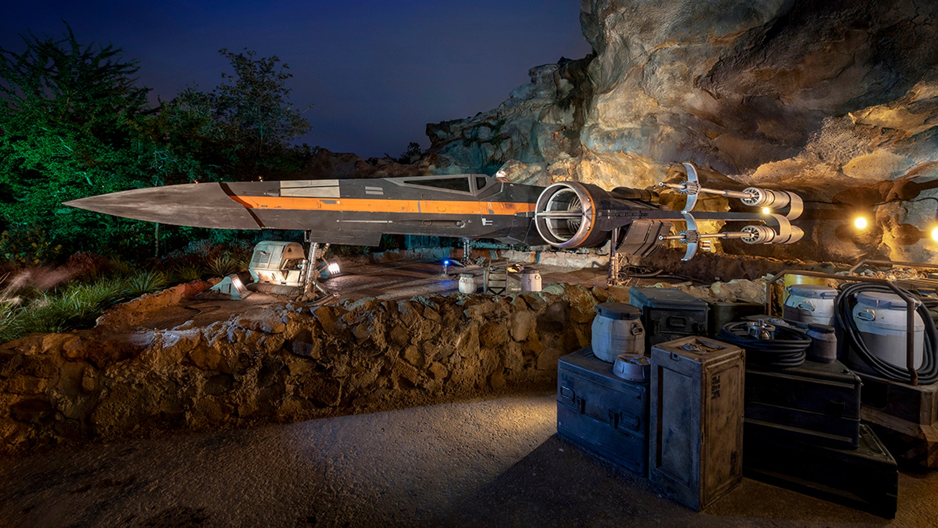 Poe Dameron's X-wing starfighter, Black One, appears in Star Wars: Rise of the Resistance, opening Dec. 5, 2019, at Disney's Hollywood Studios in Florida and Jan. 17, 2020, at Disneyland Park in California.
