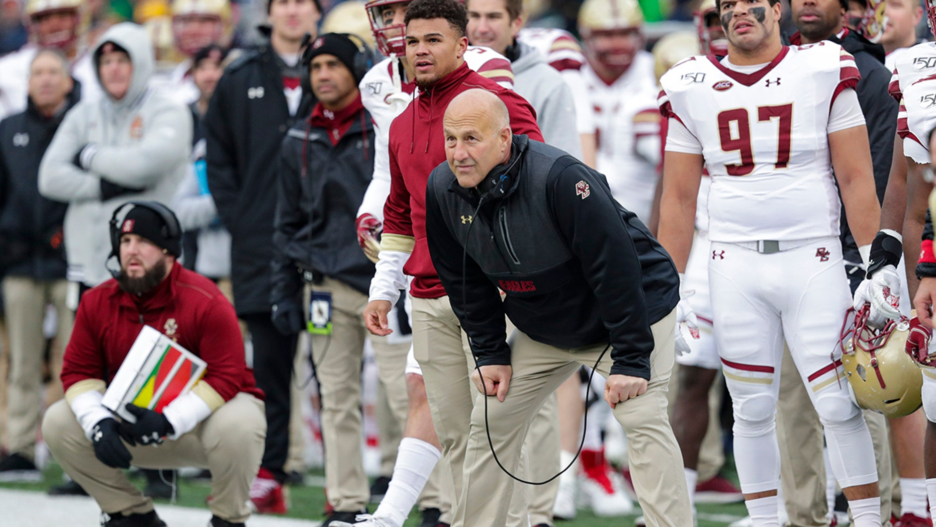 Boston College head coach Steve Addazio watches his team from the sideline as his team played against Notre Dame during the first half of an NCAA college football game in South Bend, Ind., Saturday, Nov. 23, 2019. Notre Dame defeated Boston College 40-7. (AP Photo/Michael Conroy)