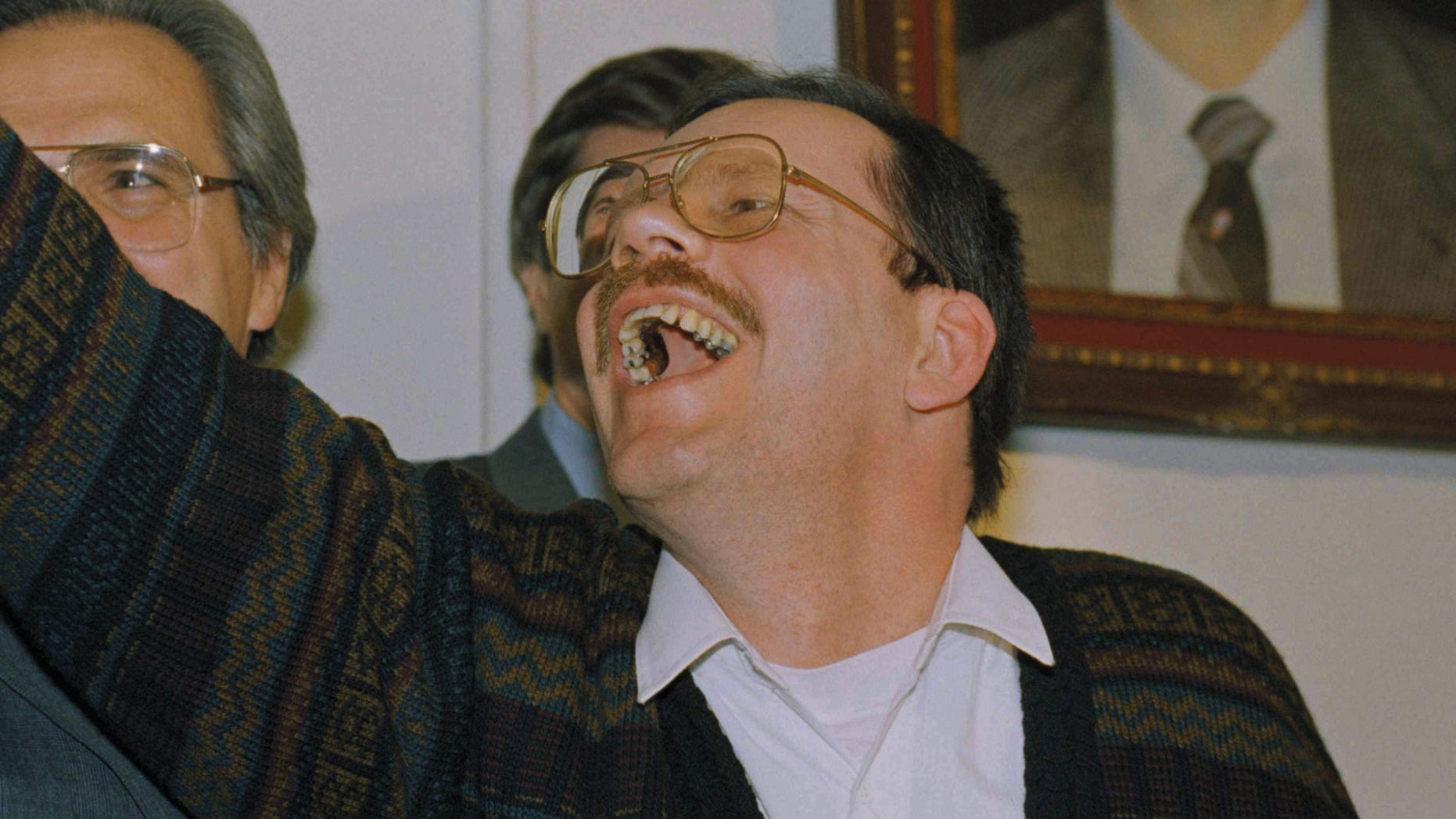 Terry Anderson, arch Middle East match for a Associated Press, waves as he enters a news discussion in a Syrian Foreign Ministry in Damascus, Wednesday, Dec. 4, 1991. Anderson was reason serf for scarcely 7 years before being expelled on Wednesday. (AP Photo/Santiago Lyon)