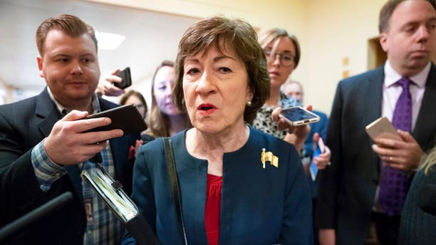 ​​​​​​​Sen. Susan Collins, R-Maine, speaks to reporters Nov. 6, 2019, at the Capitol in Washington. (Associated Press)