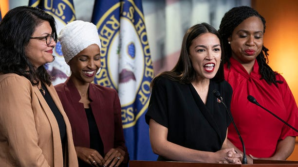 "The freshmen Democrats known as ""The Squad."" From left are U.S. Reps. Rashida Tlaib, D-Mich.; Ilhan Omar, D-Minn.; Alexandria Ocasio-Cortez, D-N.Y.; and Ayanna Pressley, D-Mass. They are seen at a news conference at the Capitol in Washington, July 15, 2019. (Associated Press)"