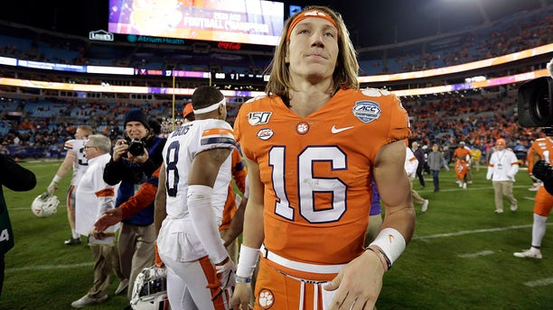 Clemson quarterback Trevor Lawrence (16) is seen following the Atlantic Coast Conference championship NCAA college football game in Charlotte, N.C., Saturday, Dec. 7, 2019. Clemson won 62-17. (Associated Press)