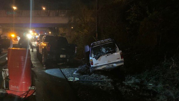 Eight people, injuring the six road workers and two people in the SUV, were transported to area hospitals.