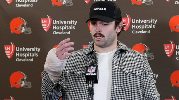 Cleveland Browns quarterback Baker Mayfield answers questions about his injured hand during a news conference after an NFL football game against the Pittsburgh Steelers, Sunday, Dec. 1, 2019, in Pittsburgh. (AP Photo/Don Wright)