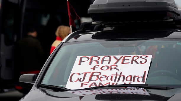 A sign for San Francisco 49ers quarterback C.J. Beathard is shown on a parked car at Levi's Stadium before an NFL football game between the 49ers and the Los Angeles Rams in Santa Clara, Calif., Saturday, Dec. 21, 2019. (Associated Press)