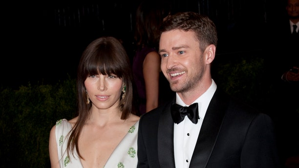 Jessica Biel and Justin Timberlake at the Met Ball in 2012. (Photo by Lars Niki/Corbis via Getty Images)