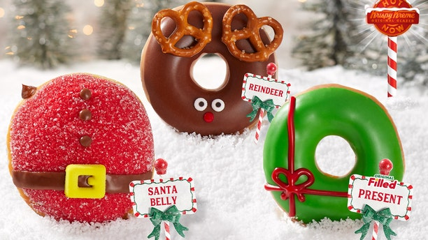 """Krispy Kreme's new Holiday Doughnut Collection includes a """"Santa Belly Doughnut"""" with chocolate """"Kreme""""-filling, a glazed """"Reindeer Doughnut"""" with pretzel antlers, and a """"Present Doughnut"""" filled with """"original Kreme."""""""