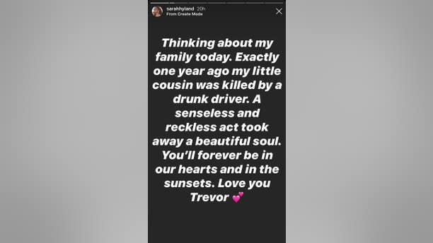 Sarah Hyland's tribute to late cousin Trevor Canaday on her Instagram Story.