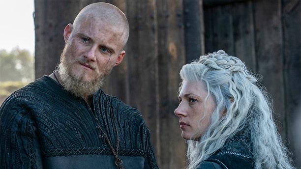 "Alexander Ludwig and Katheryn Winnick star in History Channel's ""Vikings."""