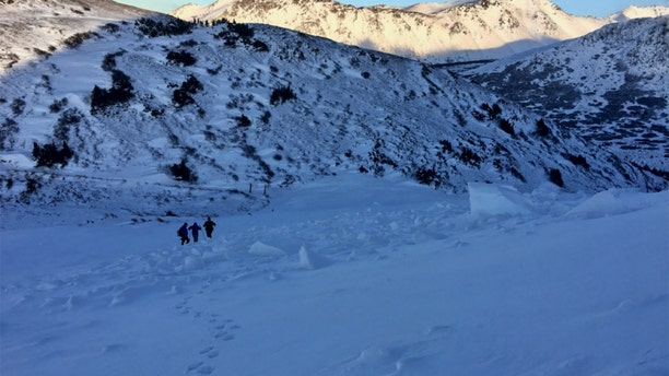 The hiker was fully buried, but had been able to kick his feet out from the snow.